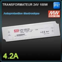 Transformateur  Meanwell 100W 24V class 2 IP67