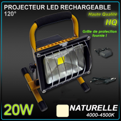 Projecteur Rechargeable LED chantier 20W / 8h - 30h