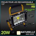 Projecteur Rechargeable LED chantier 20W / 8h - 30h