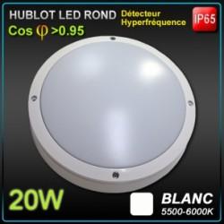 Hublot LED 20W DETECTEUR 5000K IP65