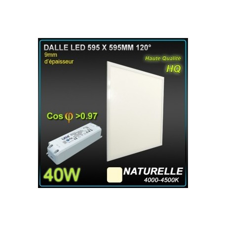 LOT 5 DALLES LED 40W 595x595 4200K BLANC NEUTRE
