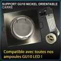 Support spot GU10 carré Nickel
